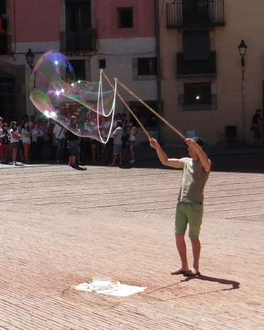 Bubble street performer