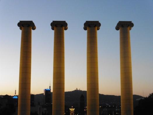 Pillars at Magic Fountain of Montjuic