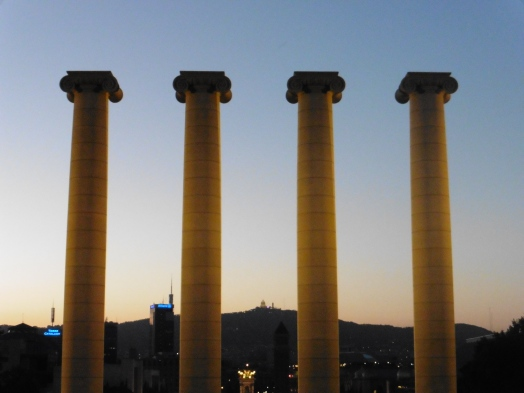 Pillars at Magic Fountain of Montjuic