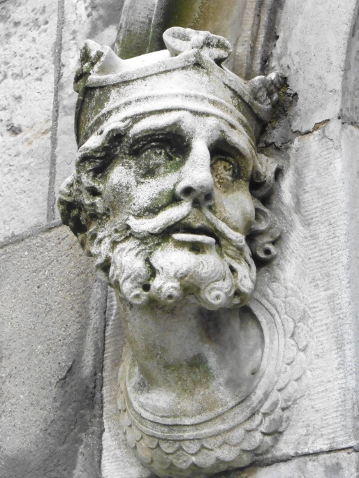Statue head on the side of a Church