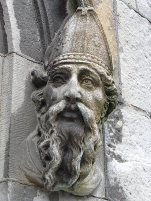 Statue head on side of Church